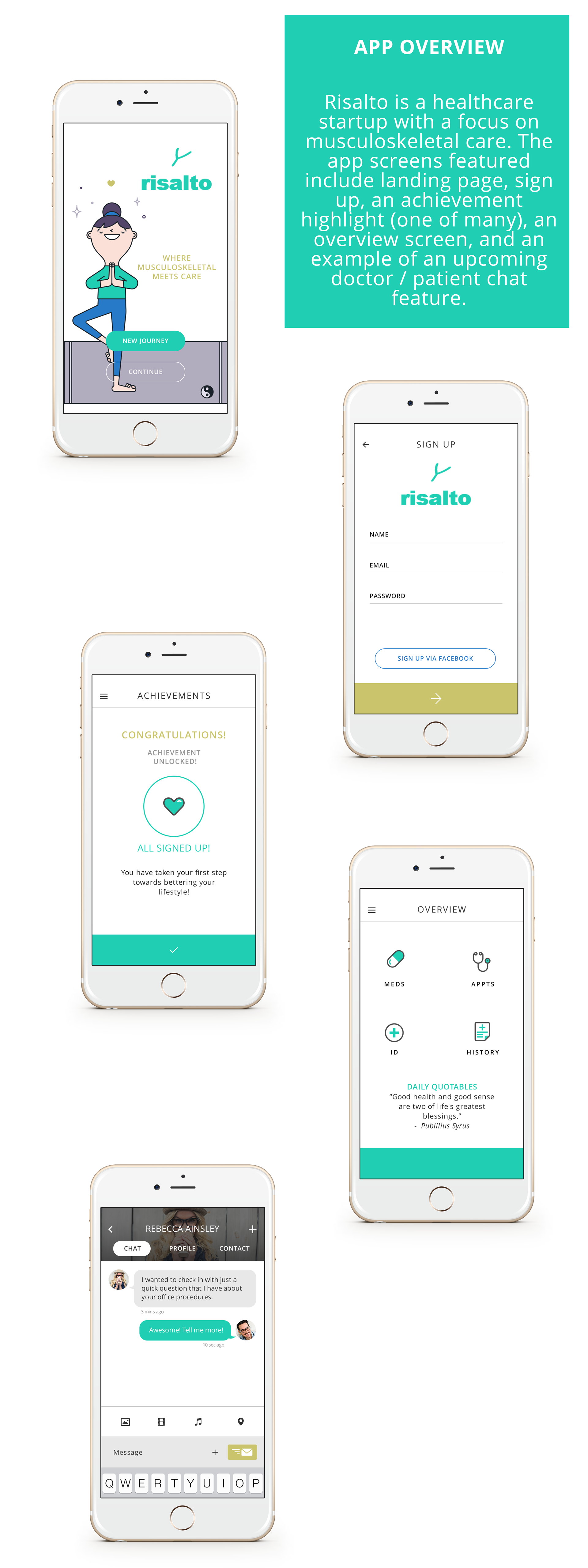 Medical Startup App UX/UI Screens by Lindsey Created